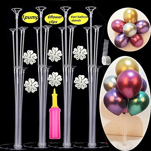 foci cozi 4 Sets von Clear Balloon Stand Kit mit 7 Sticks 7 Cups und 1 Base Table Desktop Holder Ballon Dekoration für Geburtstagsfeier Hochzeitsfeier Event mit 1 Pumpe