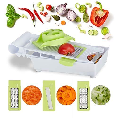 Relaxdays 10024684 professionele groenteschaaf met houder, 4 roestvrijstalen messen, handbeschermer verstelbaar, multischaaf, kunststof, wit/groen