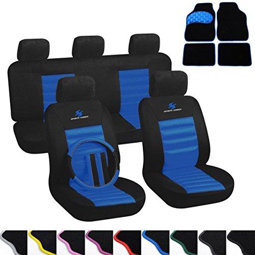 WOLTU 7264+AM7147 Auto Sitzbezug + Fußmatten, Komplettset, Polyester, Schonbezug für PKW ohne...