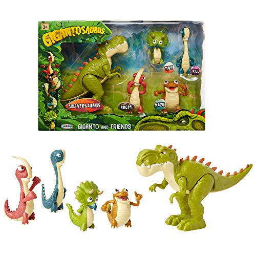Gigantosaurus Figures Giganto & Friends Toy Action Figures, Includes: Giganto, Mazu, Bill, Tiny & Rocky – Articulated Characters Range from 2.5-5.5' Tall