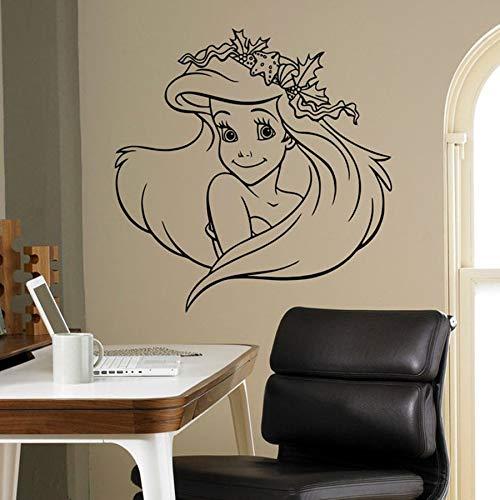 Calcomanía de vinilo de pared sirena grande hermosas pegatinas de pared interior del hogar niños niñas decoración del dormitorio jardín de infantes diseño de pared de dibujos animados