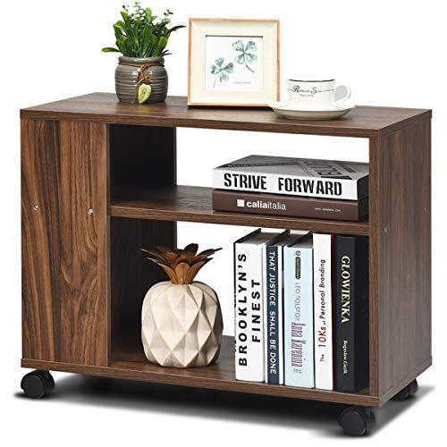 COSTWAY Beistelltisch mit Rollen und 3 Ablage, Konsolentisch Couchtisch Nachttisch Holz, Sofatisch für Wohnzimmer, Schlafzimmer 60x30x48cm, Braun