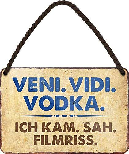 """Blechschild Lustiger ALKOHOL VODKA TRINK Spruch: """"VENI. VIDI. VODKA ICH KAM.."""" Deko Hängeschild Türschild Metallschild Schild Witziges Geschenk zum Geburtstag oder Weihnachten für Wodka Fans 18x12 cm"""