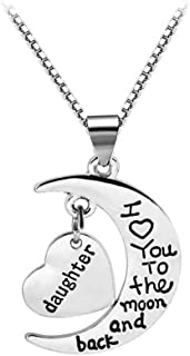 I Love You to The Moon and Back Pendant Necklace Birthday Christmas Gifts for Mom Grandma Daughter Aunt Sister Family Daug...