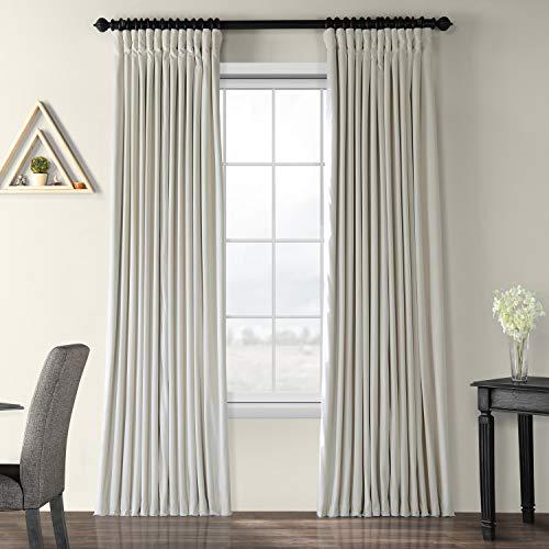Half Price Drapes VPCH-VET1219-108 Signature Doublewide Blackout Velvet Curtain, Off White, 100 X 108