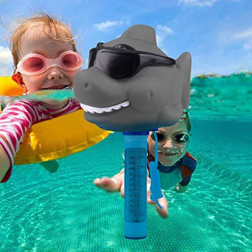 Zwembad Thermometer, Grote Display Gemakkelijk te lezen, Leuke Animal Drijvende Thermometer met Lanyard voor Baby Bad Outdoor & Indoor Zwembaden, Spa's, Hot Tubs, Jacuzzi & Aquariums Sunglasses-Shark