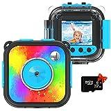 Uleway Cámara de Acción para Niños Impermeable 1080P Videocámara Subacuática Digital Juguete Cámara Regalo de Cumpleaños para Niños y Niñas para Deportes Buceo Nadar Correr Ciclismo (Azul)