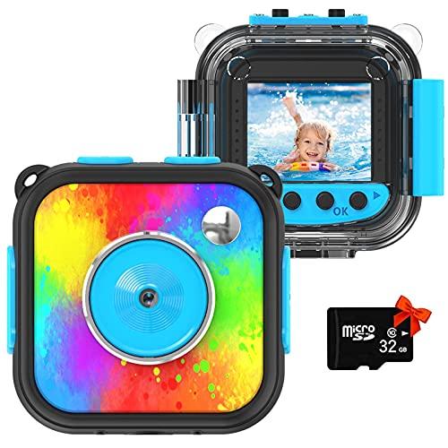 Uleway Kinderkamera,Mini Digital Kamera für Kinder,Action Kamera wasserdichte,Unterwasser Kamera Helmkamera für Fahrrad Outdoor,Spielzeug und Geschenk für Junge Mädchen Geschenk…