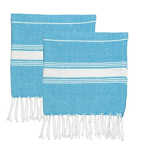 Nicola Spring Petites Serviettes de Plage Turques - Coton - 100 x 60 cm - Bleu - Lot de 4