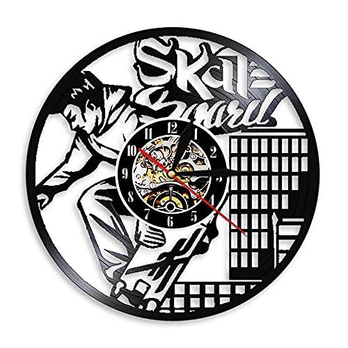 Gtllje Disco de Vinilo de monopatín Reloj de Pared Luminoso led con retroiluminación led Reloj de decoración de monopatín de Bicicleta Regalo Personalizado 30x30cm