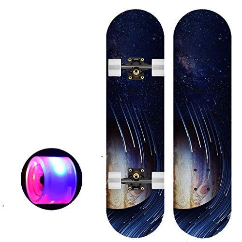 Komplette Skateboards- Standard-Skateboards mit bunten Blitzen-Räder for Anfänger Starter for Kinder Jungen Mädchen Teenager- 31''x 8 '' Maple Cruiser Pro Skateboarddecks, Longboard Skateboards (Farbe
