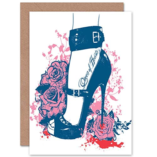 Wee Blue Coo Queen Hearts HIGH Heel Woman Flower Rose BLANK Birthday Card