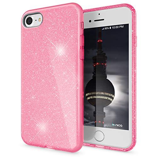 NALIA Glitter Case Compatible con iPhone SE 2020 / iPhone 8 / iPhone 7 Funda, Purpurina Carcasa Brillante Silicone Cubierta Sparkle Proteccion, Delgado Bling Cover Goma Bumper Brillo, Color:Pink Rosa