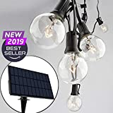 Sunlitec Solar String Lights Waterproof LED Indoor/Outdoor Hanging Umbrella Lights with 25 Bulbs - 27 Ft Patio Lights for Deckyard Tents Market Cafe Gazebo Porch Party Decor