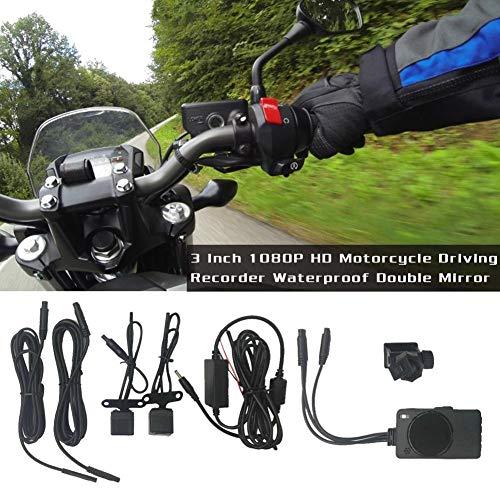 miss-an 3 Zoll 1080P HD Dual Linse Dashcam Motorrad Wasserdicht Bildschirm,Motorrad Action Kamera Support TF Memory Card 4GB ~ 32GB