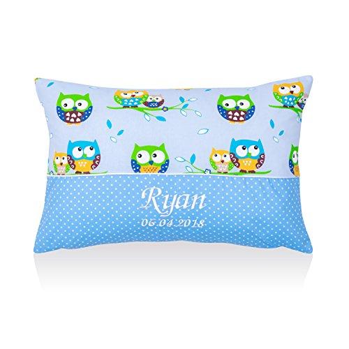 Amilian® Kissen 40 x 60 cm mit Namen Datum Eule Blau/Pünktchen klein Blau