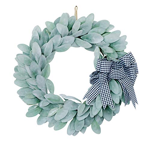 Redsa 17.7 Inch Artificial Eucalyptus Wreath Hanging Flocked Lambs Ear Wreath with Bow Spring Greenery Leaves Garland for Front Door Wall Window Home Decor