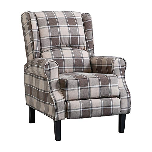 BOJU Comfy Recliner Armchair Chair for Bedroom Living Room Single Sofa Chairs Fireside Wing Back with Arms Fabric Upholstered Leisure Chairs for Lounge Cinema Gaming (Beige)