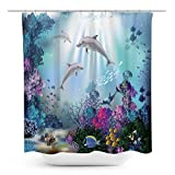 Coxila Dolphin Shower Curtain Underwater Deep Ocean Fish Tropical Sea Marine Wildlife Kids Animal Seabed 60 x 72 Inch Polyester Fabric Waterproof 12 Pack Plastic Hooks