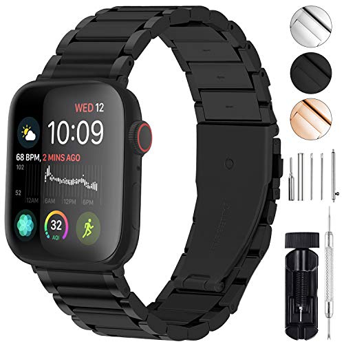 GerbGorb Cinturino Compatibile per Apple Watch 42 mm, Cinturini in Acciaio Inossidabile per iWatch Serie SE 6 5 4 3 2 1, Watch Band per iWatch, 42mm Nero+ Hardware Nero
