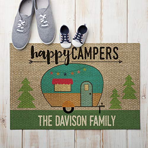 "Personalized Planet Happy Campers Custom Indoor/Outdoor Doormat with Non-Slip Rubber Backing, 18"" x 27"""