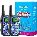 Nestling Walkie Talkie para niños, Camuflaje al Aire Libre, 8 Canales, Radio de 2 vías, Juguetes, Linterna LCD retroiluminada, Rango de 3 Millas para Actividades Infantiles (2pcs Azul)