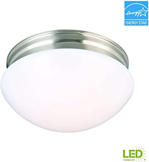 Commercial Electric 9 in. 60-Watt Equivalent Brushed Nickel Integrated LED Mushroom Flush Mount with White Acrylic Shade