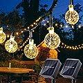 2 Pack Globe Solar String Lights, 20ft 30 LED Outdoor Bulb String Lights,Waterproof 8 Modes Solar Patio Lights for Patio, Garden, Gazebo, Yard, Outdoors (Warm White)