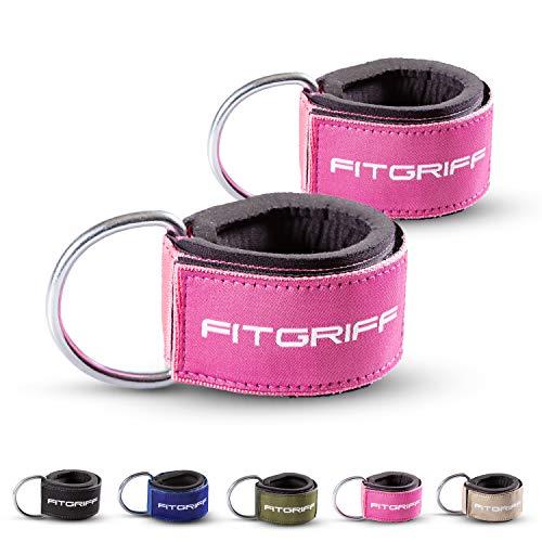 Fitgriff Komfort Fußschlaufen (2Stück) - für Fitness Training am Kabelzug - Fußfesseln für Damen und Herren (Pink)