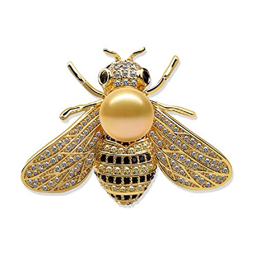 Tiande Honey Bee Brooches Crystal Insect Themed Bee Brooch Animal Fashion Shell Pearl Brooch Pin Gold Tone