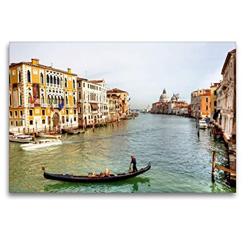 Premium Textil-Leinwand 120 x 80 cm Quer-Format Gondelführer | Wandbild, HD-Bild auf Keilrahmen, Fertigbild auf hochwertigem Vlies, Leinwanddruck von Joana Kruse