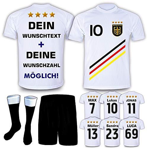DE-Fanshop Deutschland Trikot Hose Stutzen mit GRATIS Wunschname Nummer Wappen Typ #D 2018 im EM/WM Weiss - Geschenke für Kinder,Jungen,Baby. Fußball T-Shirt personalisiert