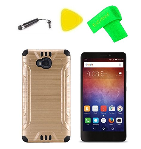 Hybrid Cover Case Cell Phone Accessory + Extreme Band + Stylus Pen + Pry Tool for Huawei Ascend XT H1611 (2016) (Brush Hybrid Gold-Black)