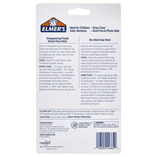 Elmer's Disappearing Purple Glue Sticks with Bonus Re-Stick Glue Stick, 6 + 1 Pack |