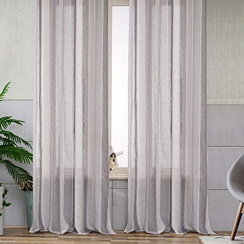 Viste tu hogar Pack 4 de Cortina Decorativa con Hilo de Cáñamo Semi Translúcida, Moderna y Elegante, para Salón o Dormitorio, 4 Piezas, 150X260 CM, Diseño de Rayas en Color Gris.