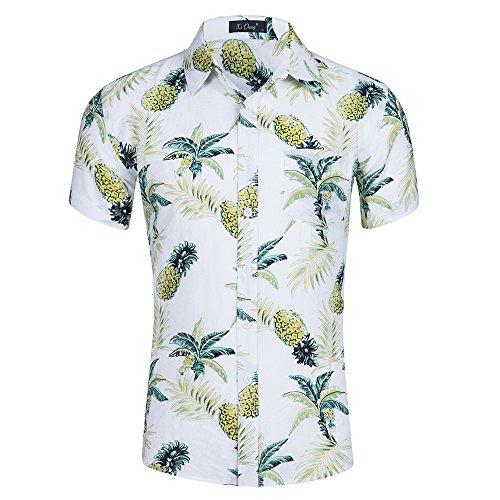 Kuson Urlaub Strand Hawaiihemd Shirt Freizeithemd Kurzarm mit modischem Druck Ananas L