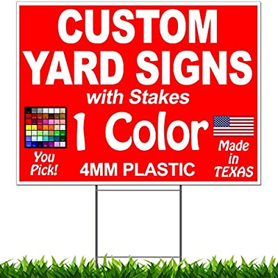 """50 Pack of 18"""" x 24"""" One-Color (1) Custom (1) Sided Yard Signs - Heavy Duty H-Stakes Included"""