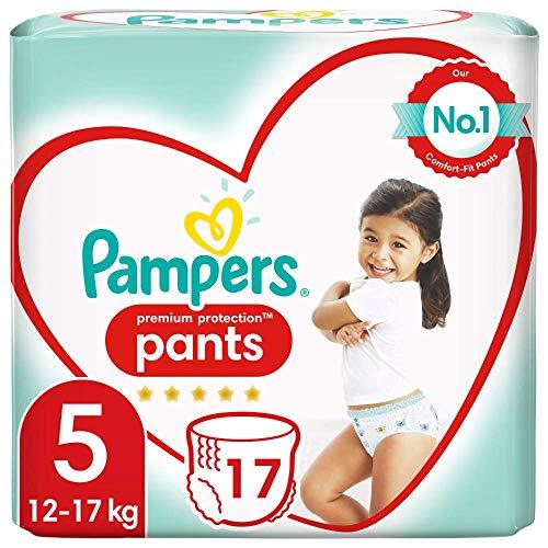 Pampers Baby Windeln Pants Größe 5 (12-17kg) Premium Protection, 17 Höschenwindeln, Tragepack, Weichster Komfort Und Einfaches Anziehen