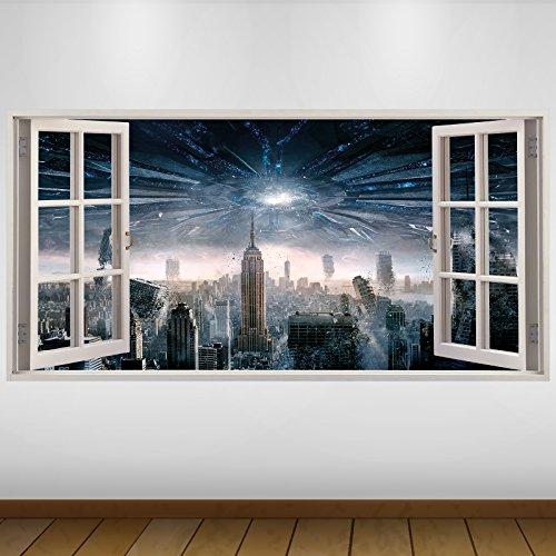 LagunaProject Extra Grande Nueva York Ataque Alian fantasía Vinilo 3D Póster - Mural Decoración - Etiqueta de la Pared -140cm x 70cm
