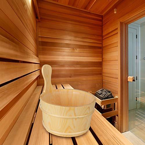 Saunazubehör, Holzeimer aus Holz, wasserdichter, breiter Griff für Saunaräume Freunde Badezimmer Familie