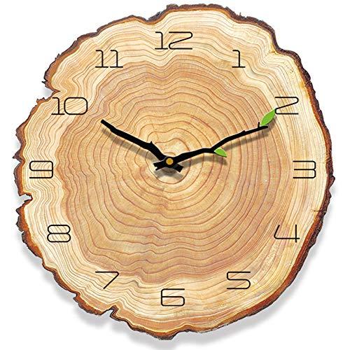 Yoillione Wanduhr Vintage Holz Küchenuhr Retro Wanduhr Landhaus, Nicht Tickende Uhr Holz Wand Geräuschlose Wanduhren Holz für Schlafzimmer, Rund Leise Uhr Wohnzimmer Modern Echtholz Designuhr
