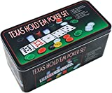 ELAELA Set de póker Caja de Metal, 200 fichas de póker, 2 Cubiertas, botón de...