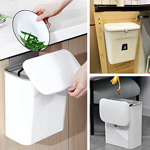 KaryHome Compost Bin Indoor Kitchen Sealedwith lid for Food Waste,Small Kitchen Trash Can with Lid,Hanging Trash Can for Kitchen Cabinet Door or Under Sink, 9L White
