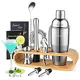 YISSVIC Cocktail Shaker Set Cocktail Bar 10-teiliges Cocktail Mixer Edelstahl Cocktailset 750ml mit Holzständer und Rezeptbuch