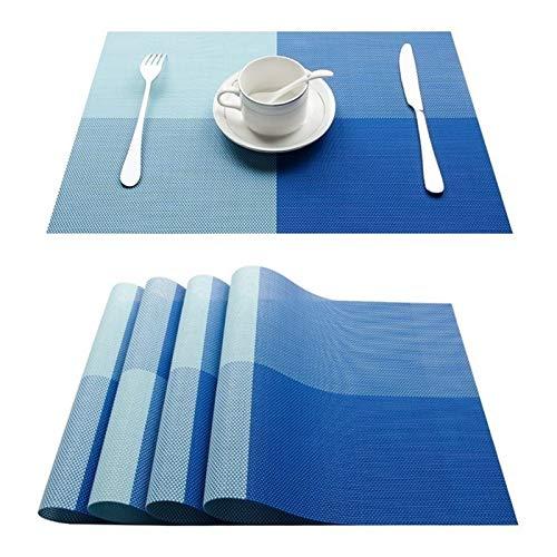 DALIANMAO PVC Bamboo PLÁSTICA PLÁSTICAS for Mesa DE COMEDUROS ST ST ST ST ST ST ST STUENS Coloque la colchoneta en la Cocina Mesa de vajilla Coffee Tea Place Mat (Color : C Blue, Size : Set of 10)