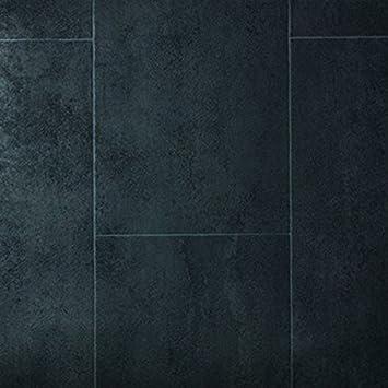 L/änge variabel Meterware Gr/ö/ße:7.00x2.00 m livingfloor/® PVC Bodenbelag Fliese Anthrazit 2m Breite