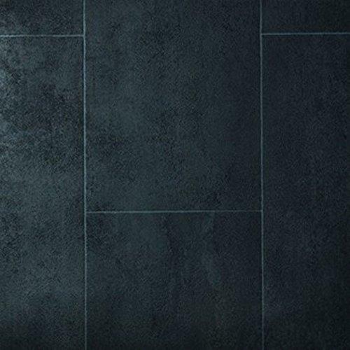 livingfloor® PVC Bodenbelag Fliese Anthrazit 2m Breite, Länge variabel Meterware, Größe:1.50x2.00 m
