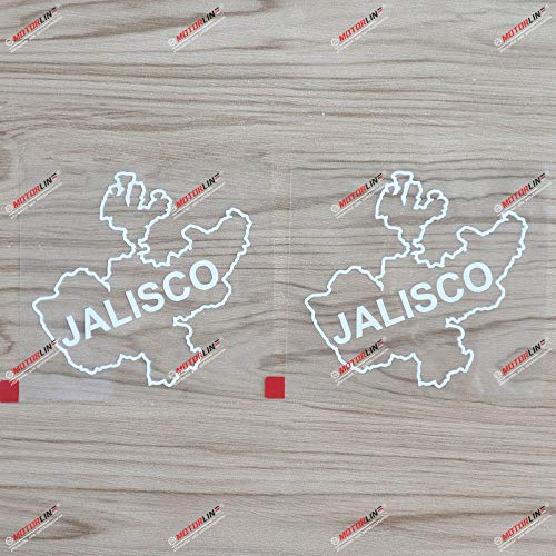2X White 4'' Jalisco State of Mexico Mexican Map Outline Decal Sticker Car Vinyl no bkgrd