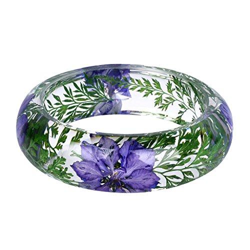 non-brand Modeschmuck Frauen Transparent Kunststoff Armreif Armband Dry Flower Inside