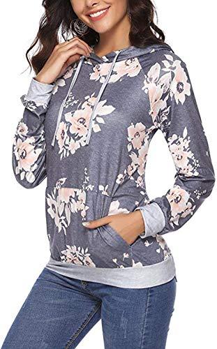 Little Hand Damen Kapuzenpullover Herbst Winter Lange Ärmel Blumen Sweatshirts Hoodie Pullover Tops Bluse Shirt mit Tasche
